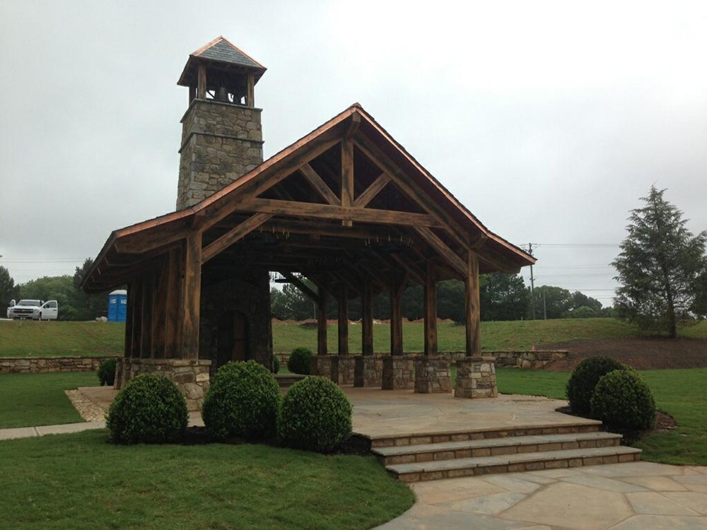 Commercial Stone Masonry and Landscaping for Church
