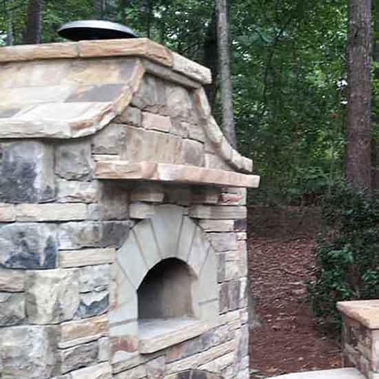 Custom Outdoor Stone Pizza Oven built in Fulton County Georgia