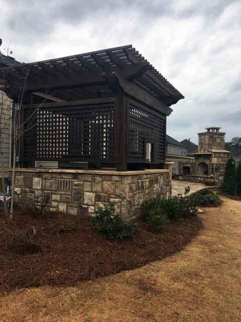 Enclosed stone patio construction Atlanta
